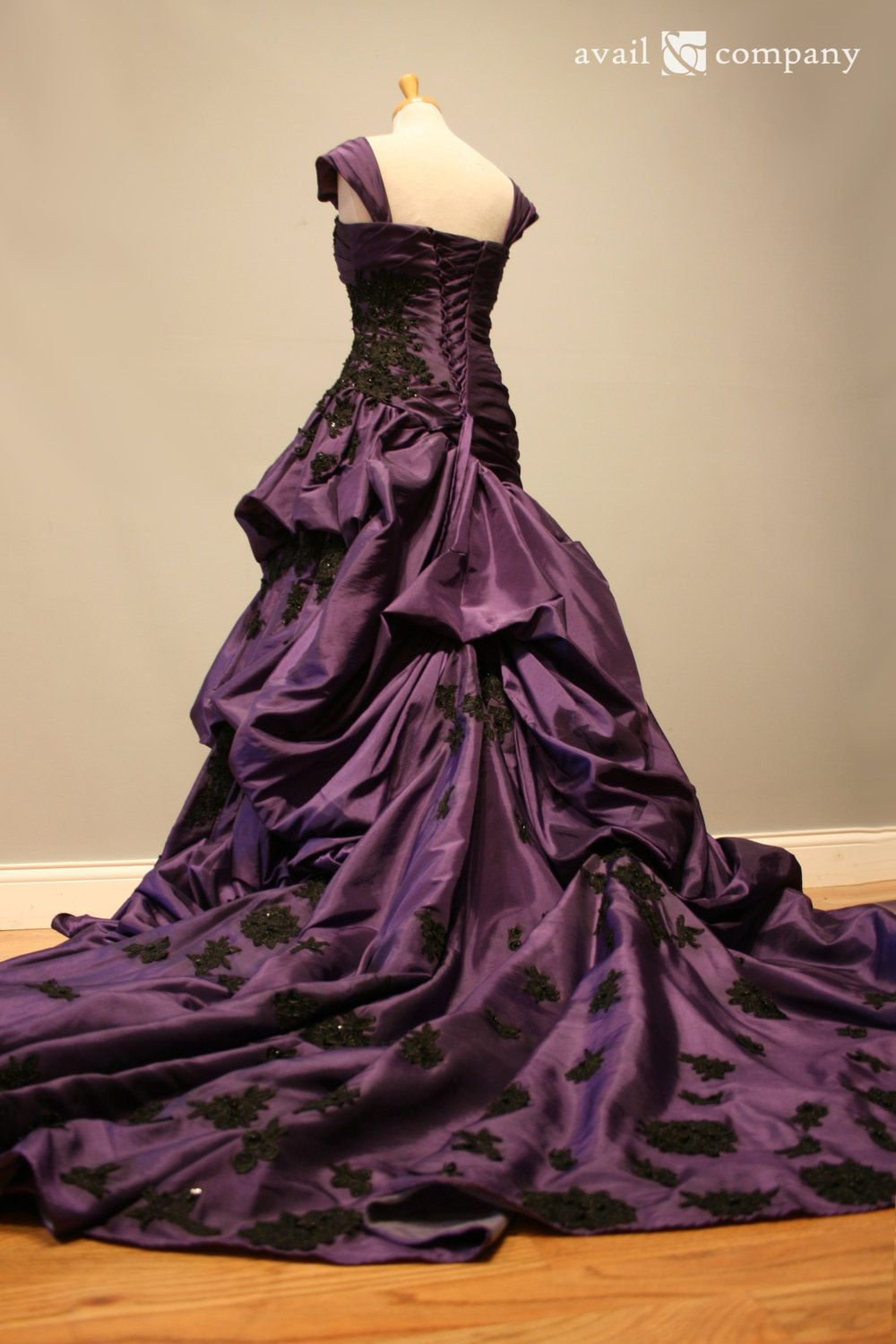 Purple and Black Gothic Wedding Dress Ball Gown - Angela Style ...