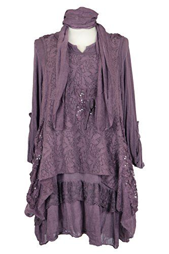 8d3ddbef6d4 Ladies Womens Italian Lagenlook Quirky Layering 3 Piece Mohair Knitted  Sequin Lace Overlay Scarf Tunic Top