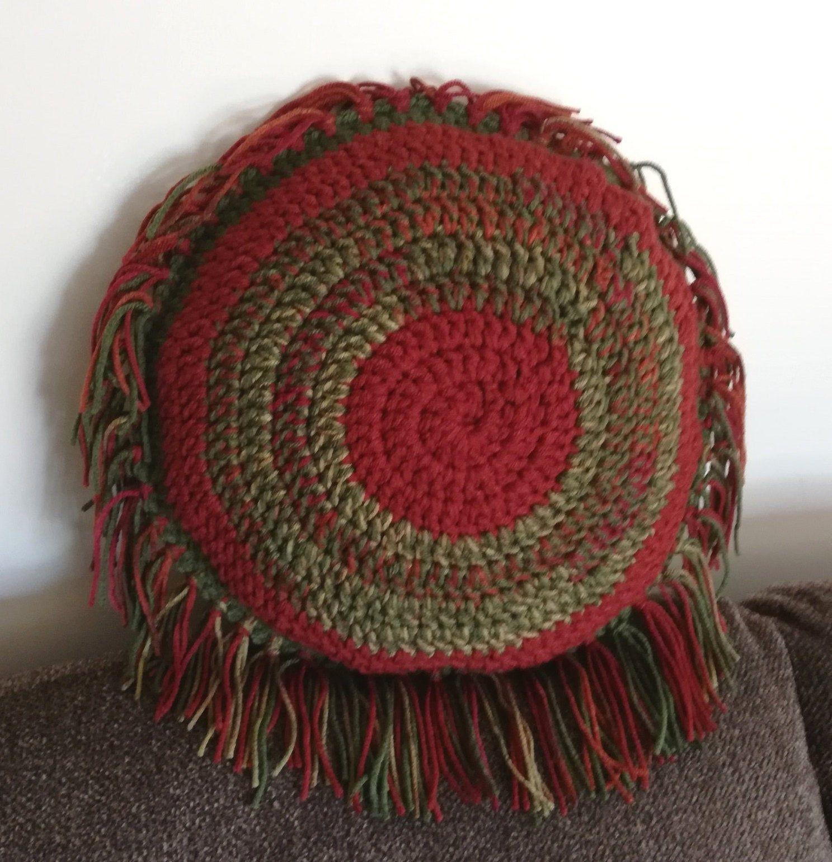 Round orange fringe boho pillow, Handmade crochet accent cushion, Hippie style items, Circle throw pillow, Rustic living room decor G 36