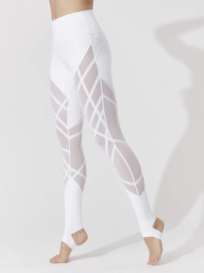 High-waist Wrapped Stirrup Leggings in White