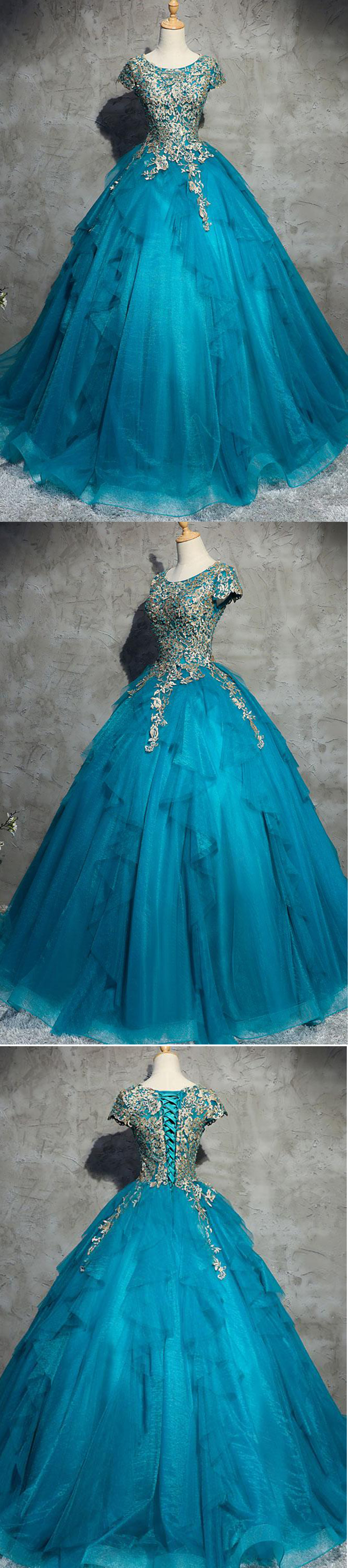 537cf00a260 Unique blue tulle lace top round neck winter formal prom dresses ...