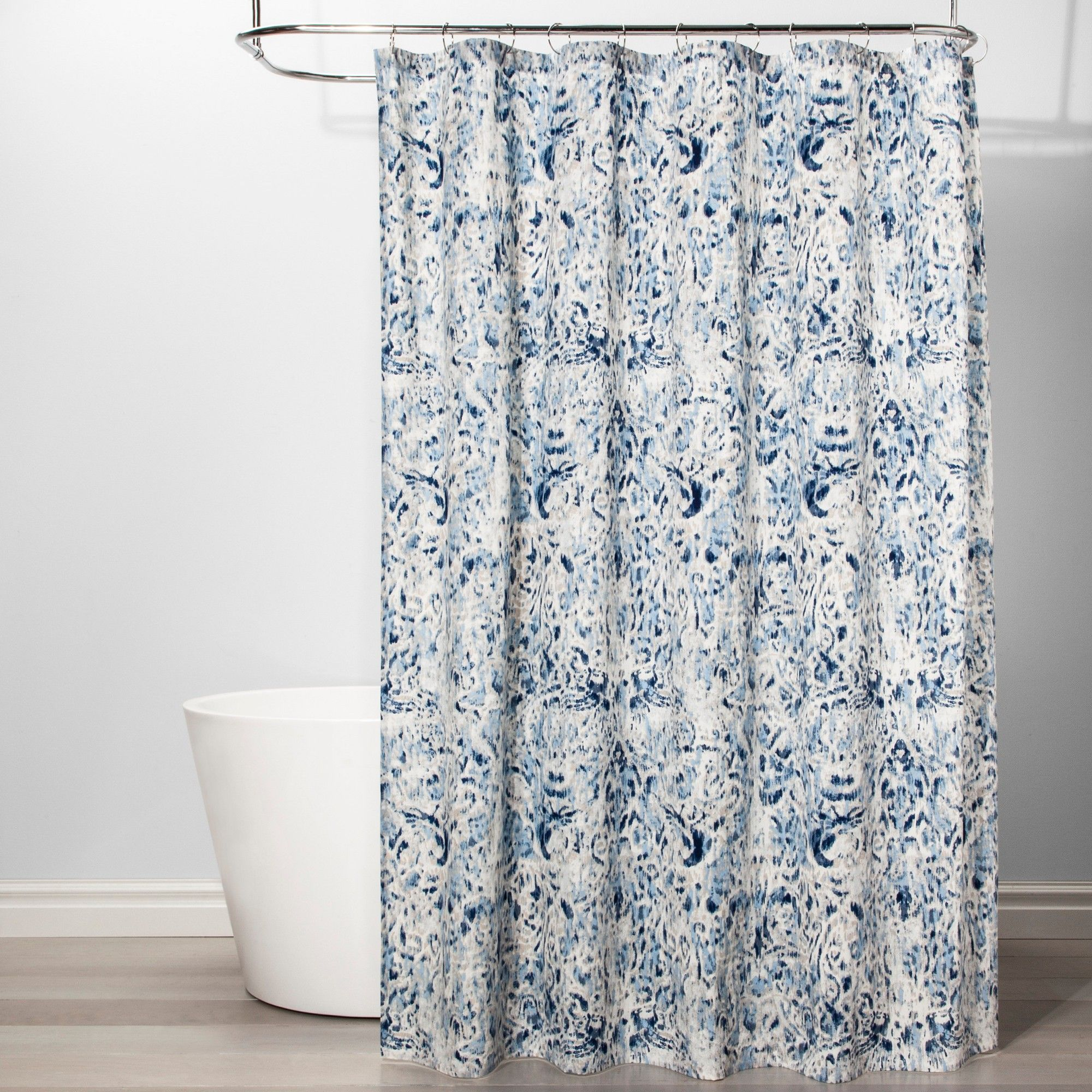 Ikat Design Shower Curtain Borage Blue Threshold Black Shower