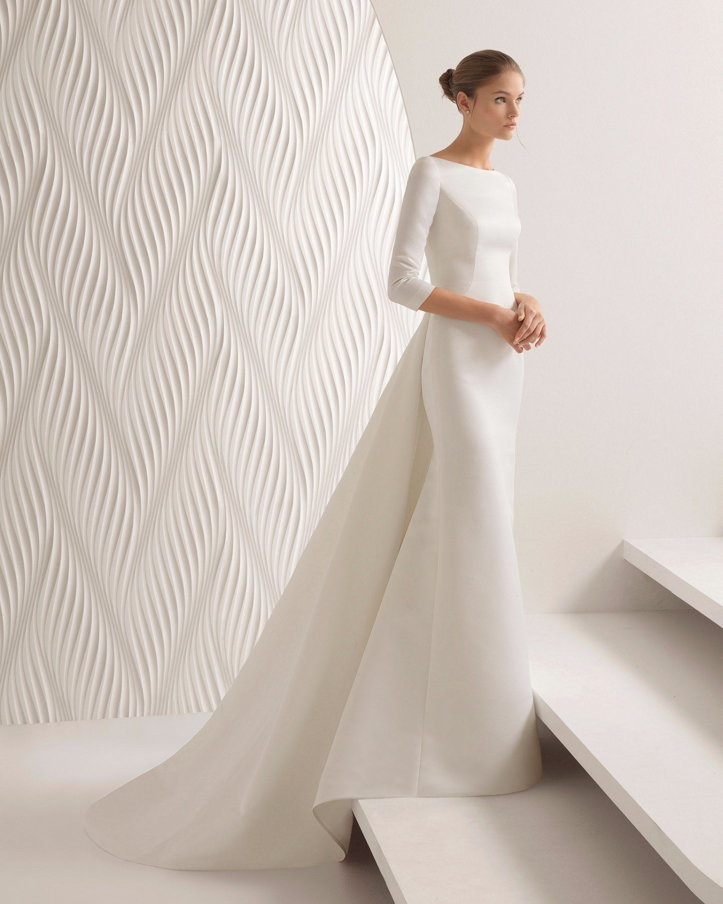 Hot Item Boat Neck 3 4 Sleeve Hollow Back Removable Train Satin Mermaid Bridal Wedding Dress Minimal Wedding Dress Boat Neck Wedding Dress Wedding Dresses