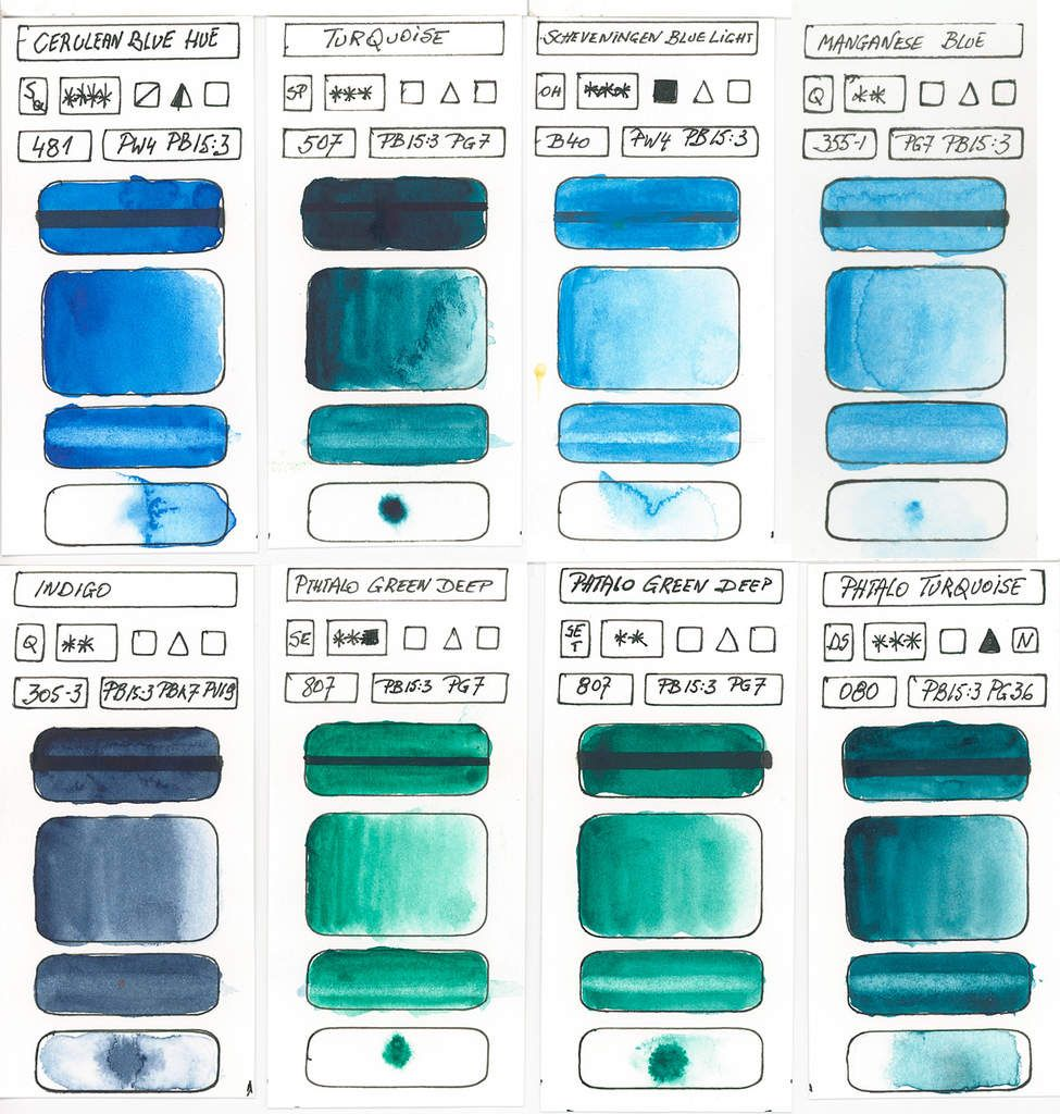 Blue Watercolor Paints According To Single Blue Pigments Blue