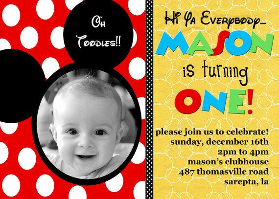 Mickey Mouse Custom Birthday Invitations