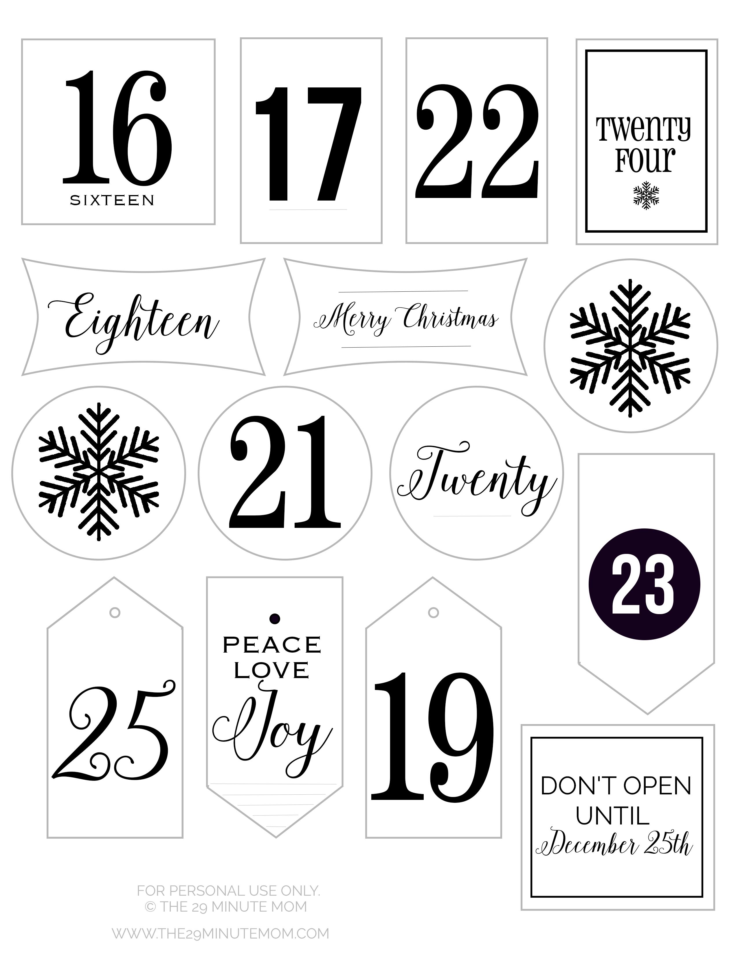 Free Printable Advent Calendar Tags