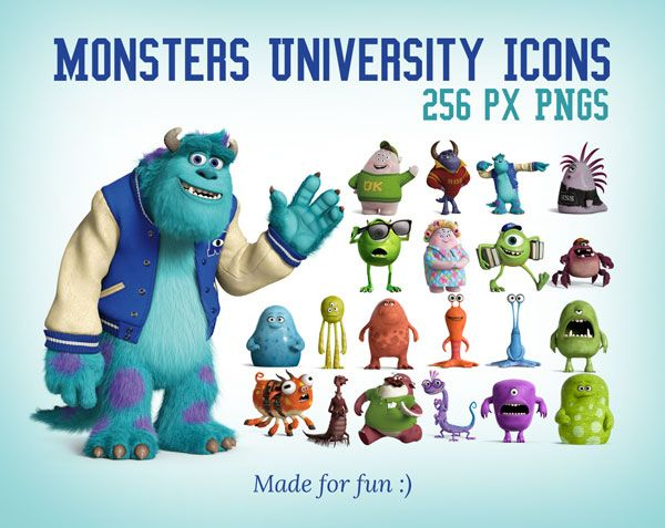 Monsters University Icons 256 Px Pngs Monster University Icon Cartoon World