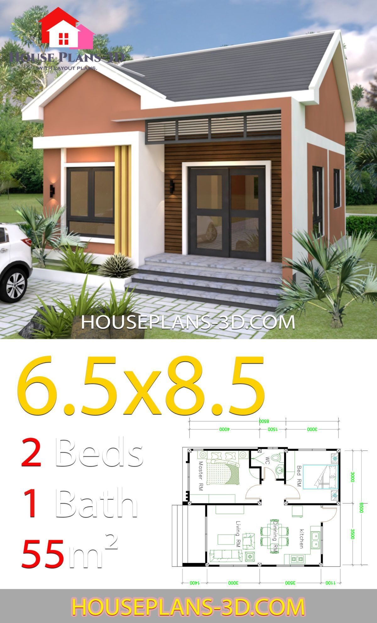 House Design 6 5x8 5 With 2 Bedrooms Shed Roof In 2019 Small House Design Small House Design Plans Simple House Design
