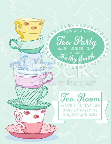 Tea Party Invitation Template On A Pastel Green Background On The