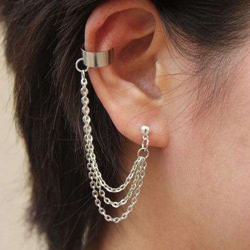 Triple Strands Chain With Double Piercing Or Earring Cuff