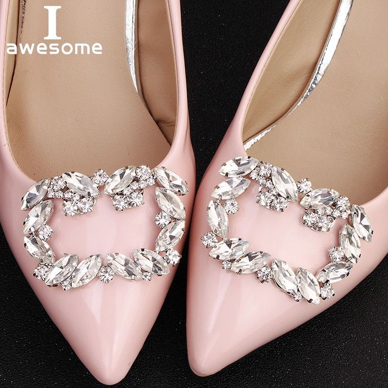 Crystal Shoes Accessory Clips Charm Rhinestone Decor High Heel Wedding Bling DIY
