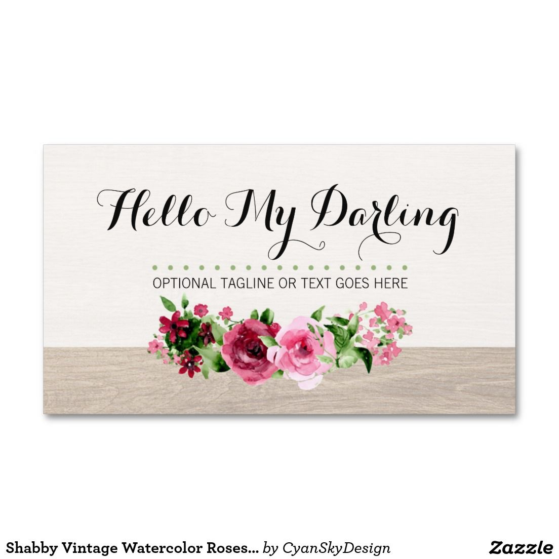 Rustic wood shabby roses vintage watercolor business card wood shabby vintage watercolor roses rustic wood business card on zazzle reheart Image collections
