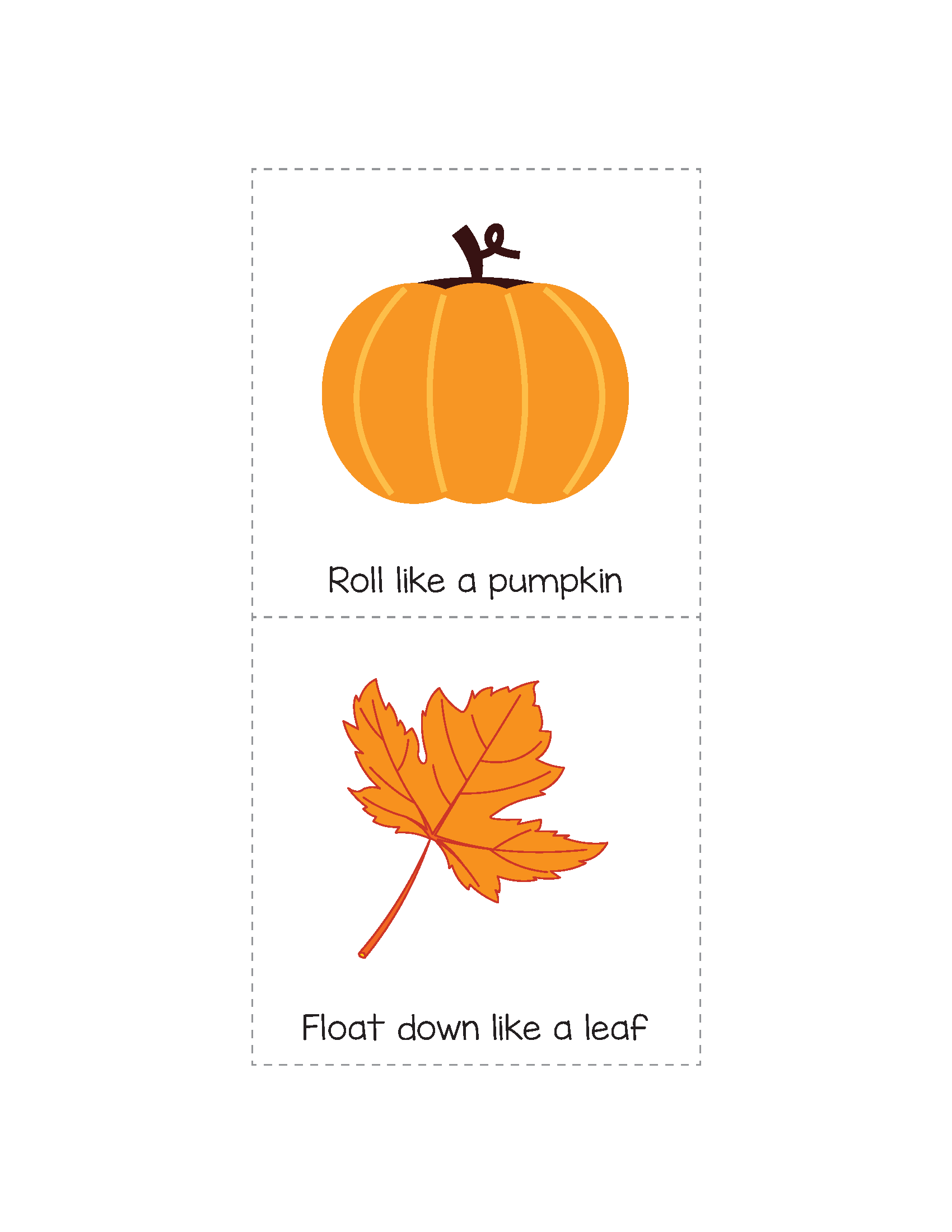 Fall Gross Motor Movement Game Free Printable