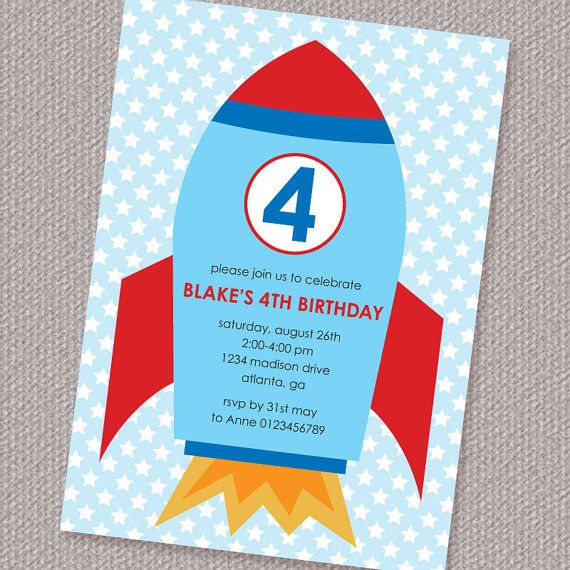 Space Rocket Party Invitation DIY Printable Personalized Digital