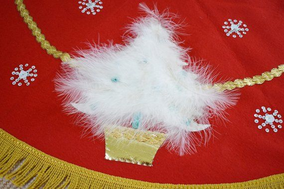 Handmade Vintage Christmas Tree Skirt, Retro Sequins Feather Tree