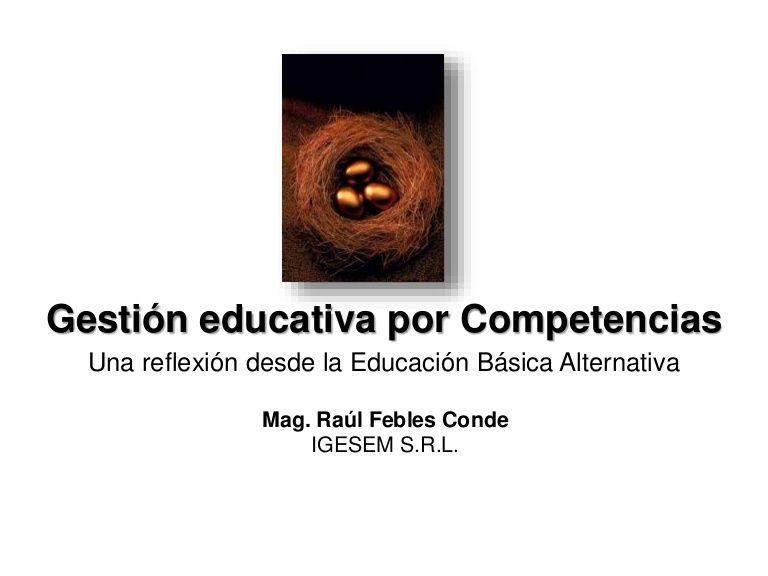 Gestión por competencias. Una reflexión desde la Educación Básica Alternativa