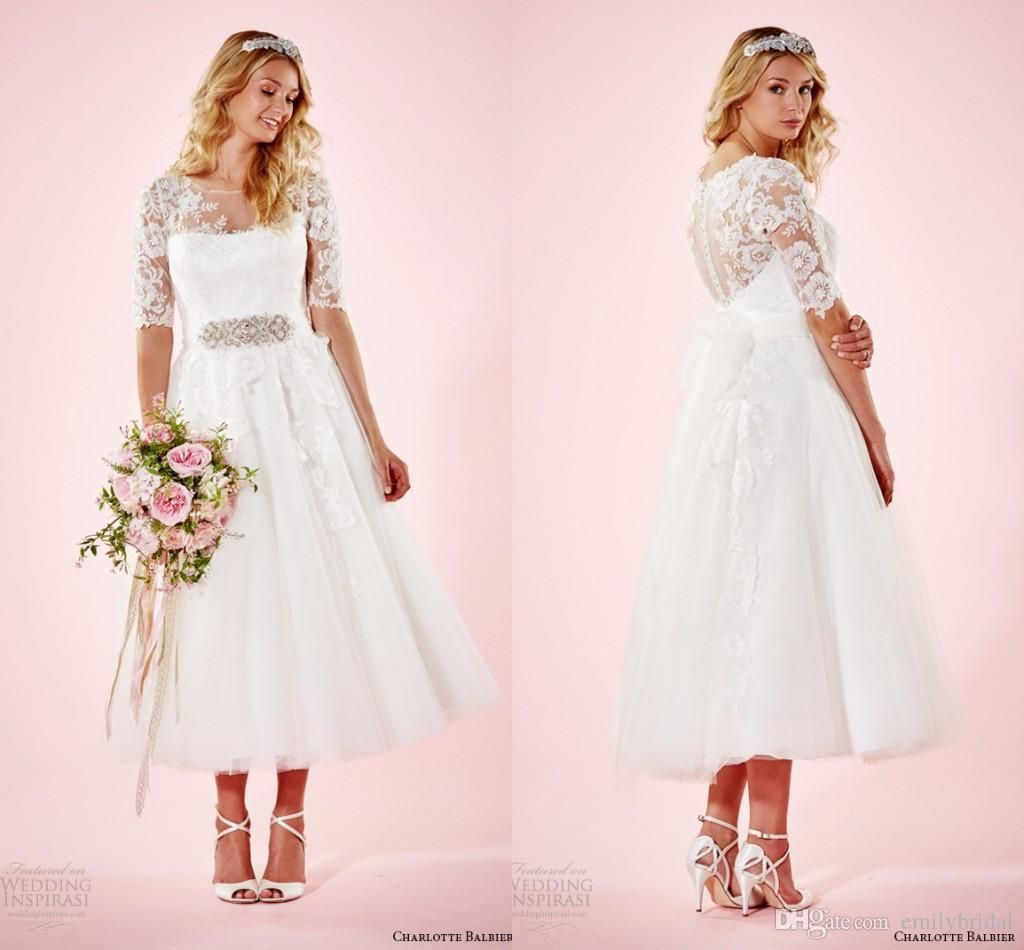 spring plus size tea length wedding dresses with illusion short