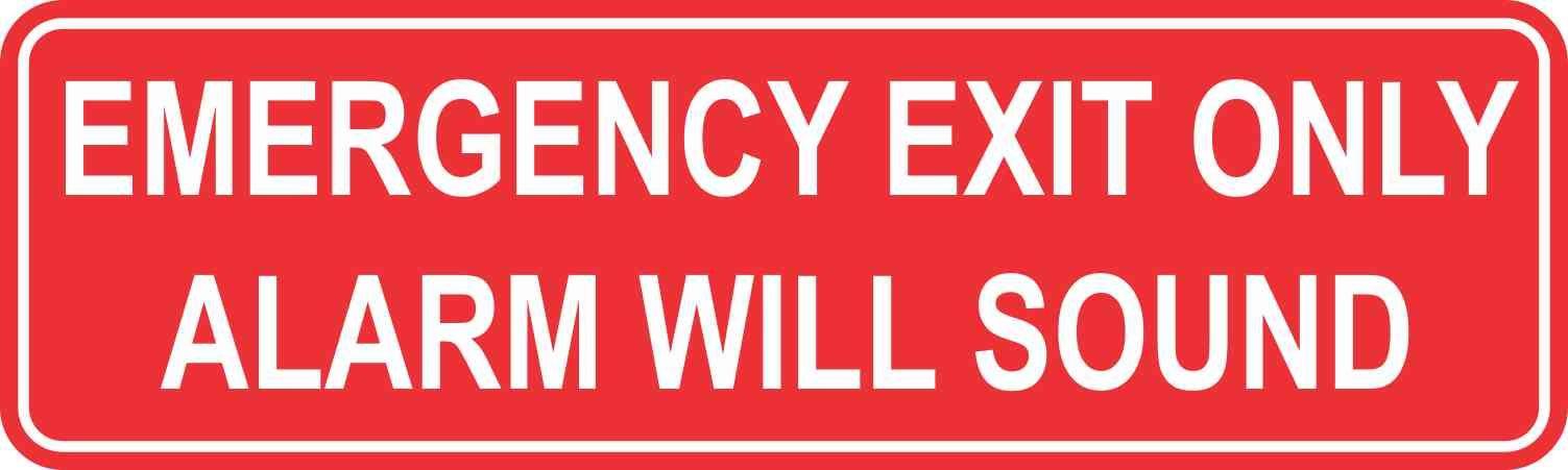 10inx3in emergency exit only alarm will sound sticker vinyl sign stickers