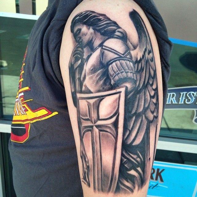 Saint Michael Tattoo by Krystof, Bluenote Tattoo, Las Vegas, NV