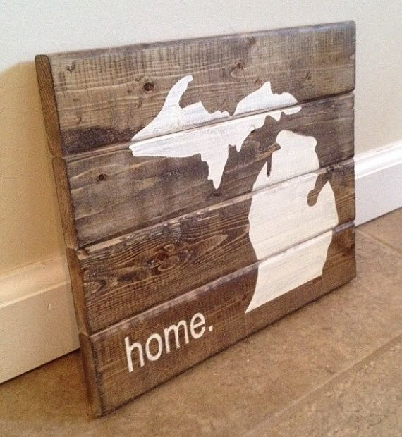 Michigan home sign  wood wall art by MittenMadeDesigns on Etsy