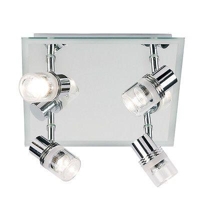 Bathroom Ceiling Light Zone 1 modern #chrome & glass bathroom ceiling 4 light #spotlight
