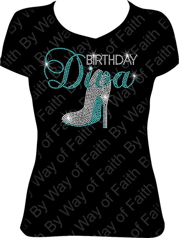 BIRTHDAY DIVA Heel Rhinestone Tee Birthday Diva Bling Squad Trip Girls