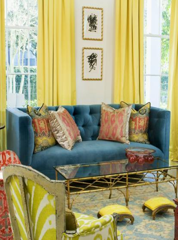 Ladylike Glamour Teal Velvet Sofa With Pale Yellow And Orange Interior Design By Melissa Miles Rufty Yellow Wall Decor Decor Eclectic Living Room