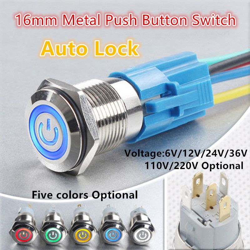 12V 16mm Metal Momentary Car LED Power Push Button Horn Engine Start Switch
