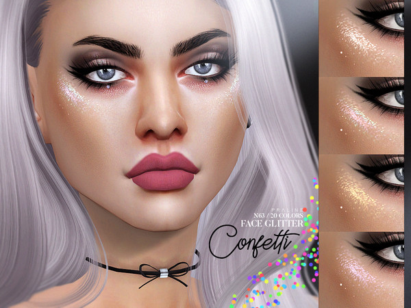 Pralinesims' Confetti Face Glitter N63 The sims, The