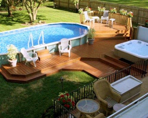 Beautiful Deck With Above Ground Pool And Spa Above Ground Pool Landscaping Backyard Pool Pool Landscaping
