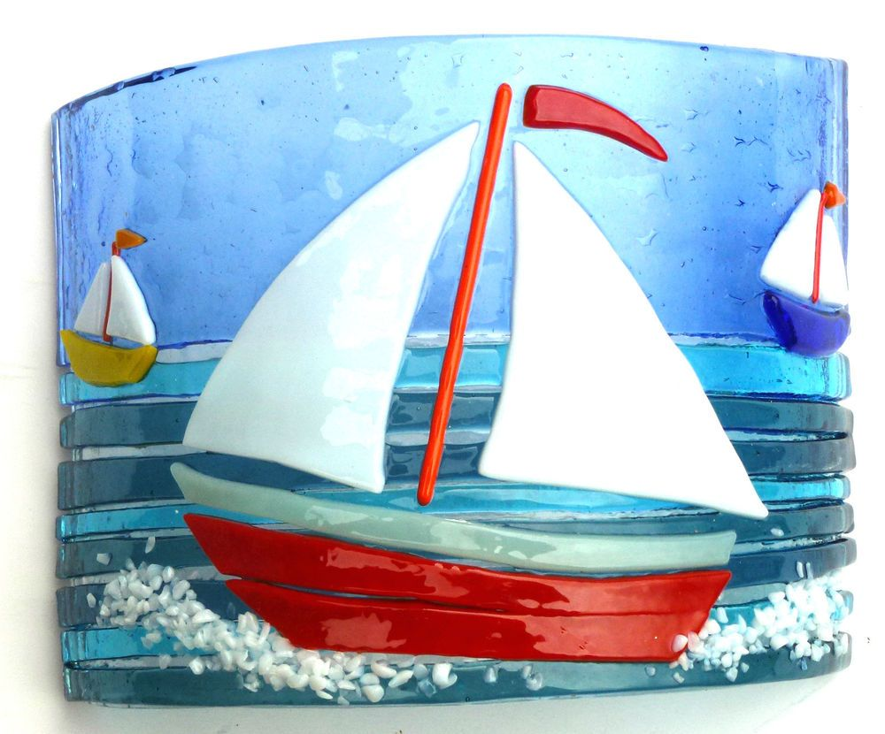 Row of beach huts curved fused glass table clock - Sailing Boats Original Fused Glass Art Freestanding
