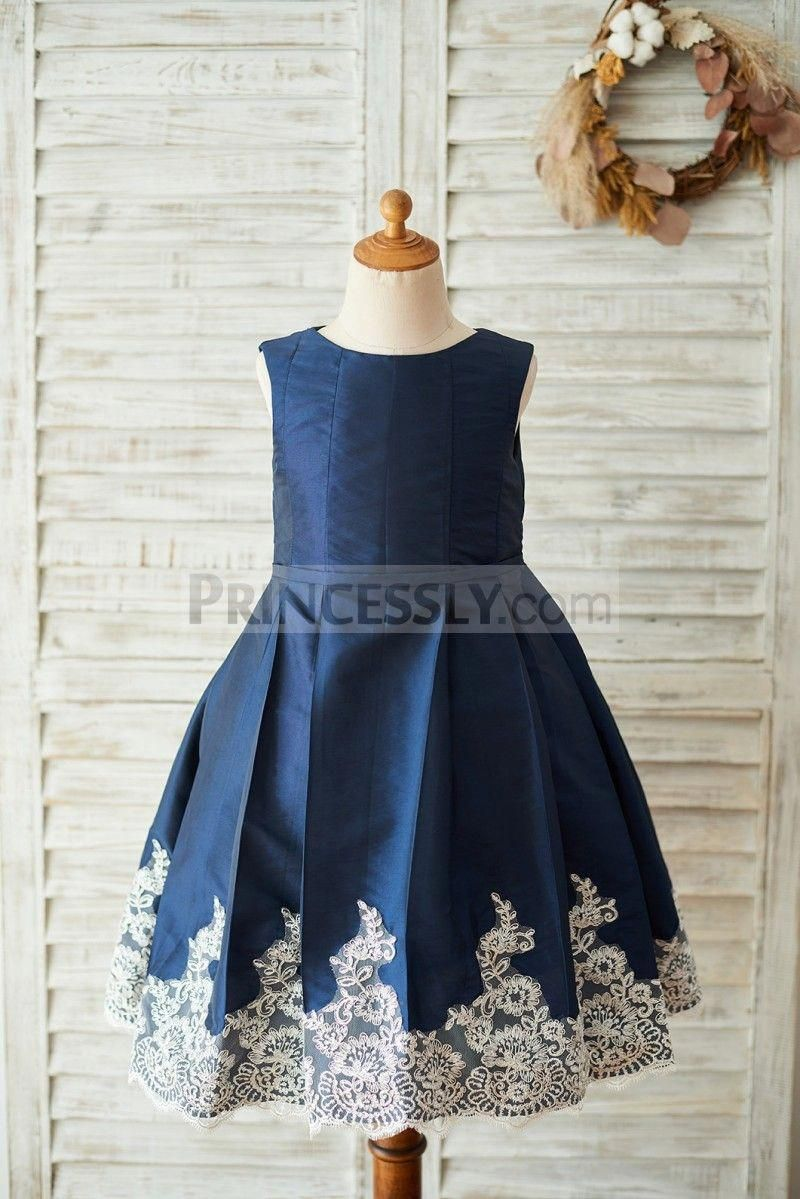 1d7dd39bc Navy Blue Taffeta Silver Lace Wedding Flower Girl Dress ...