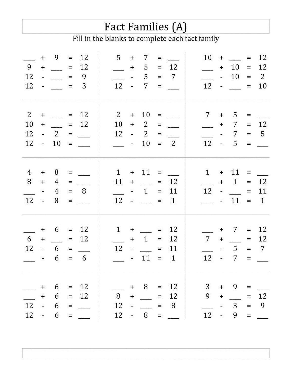 Number Family Worksheets For Kids Fact Family Worksheet Family Worksheet Math Fact Worksheets