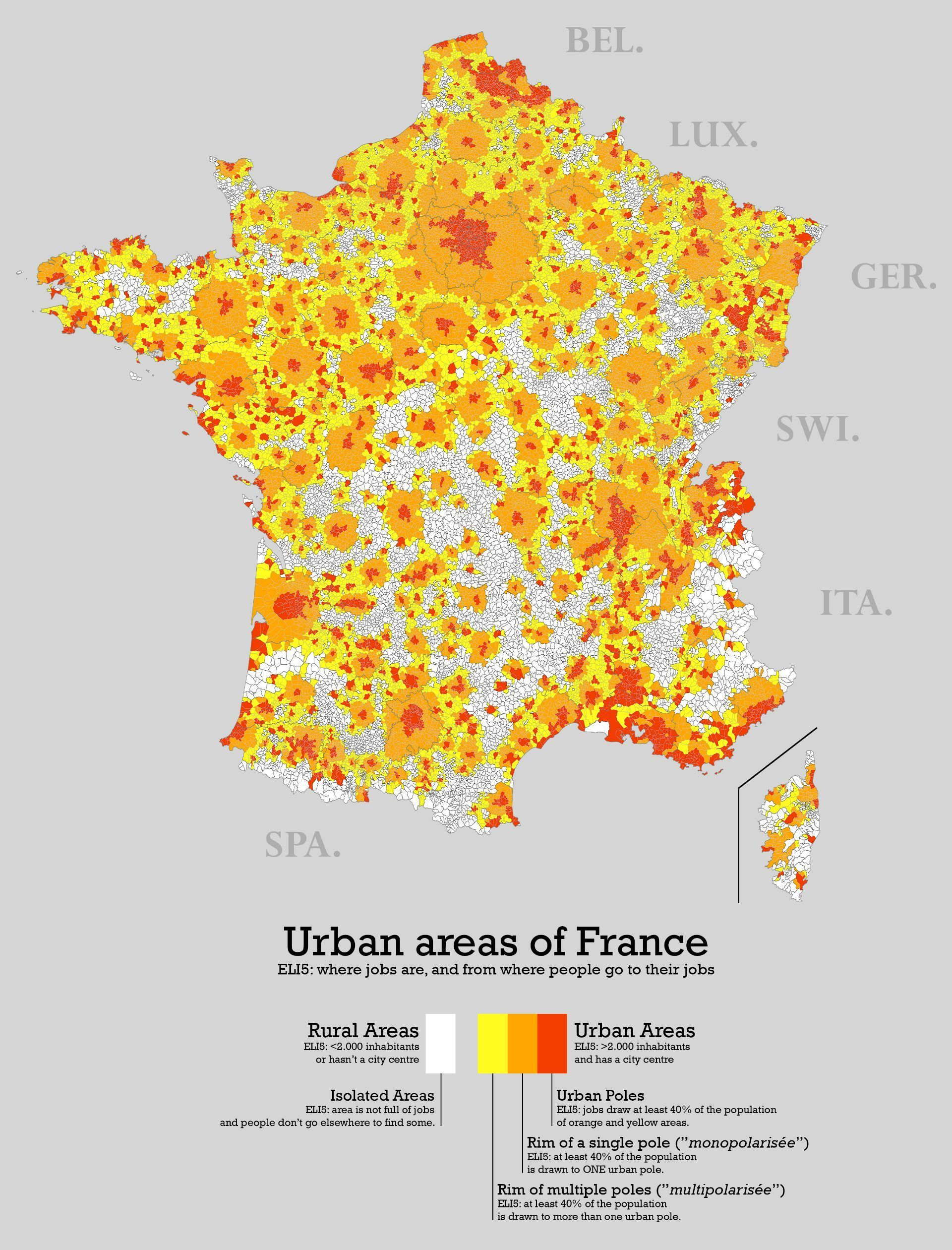 Urban and rural areas of France Géographie, Cartographie