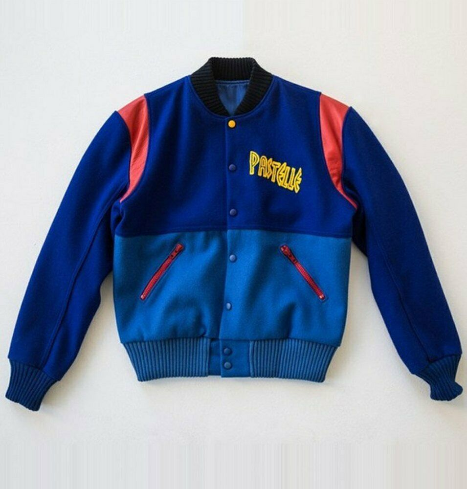 Mens Pastille Kanyewest Varsity Blue Fleece Baseball Jacket Structured From An A Class Fleece Form And Brought To Give You In 2020 Leather Jacket Outfits Satin Bomber Jacket Flight Bomber Jacket