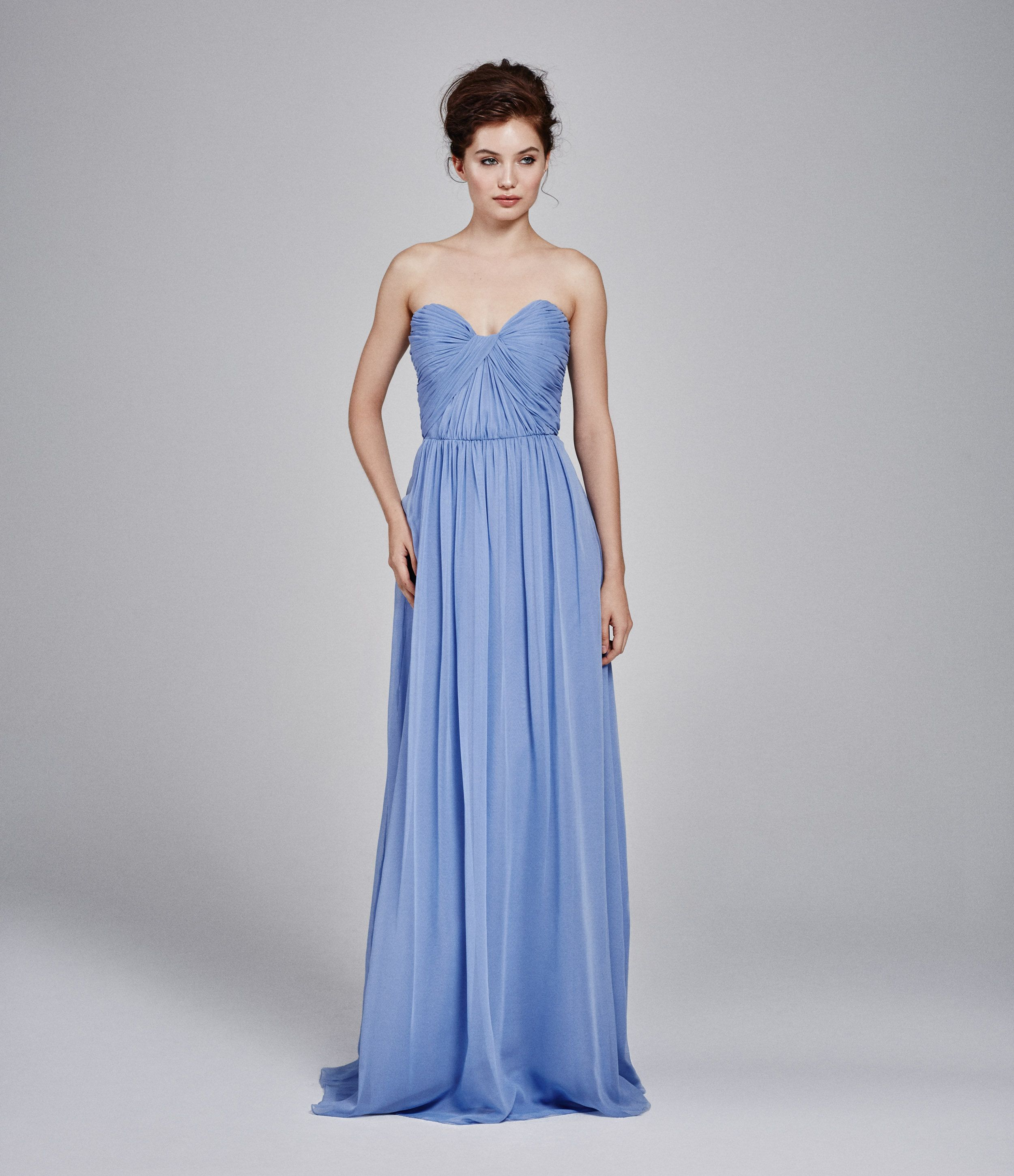 Kelly faetanini bridesmaids strapless blue chiffon gown with criss