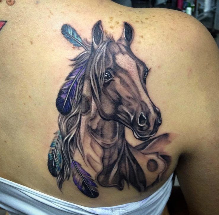 realistic horse tattoo with feathers google search. Black Bedroom Furniture Sets. Home Design Ideas