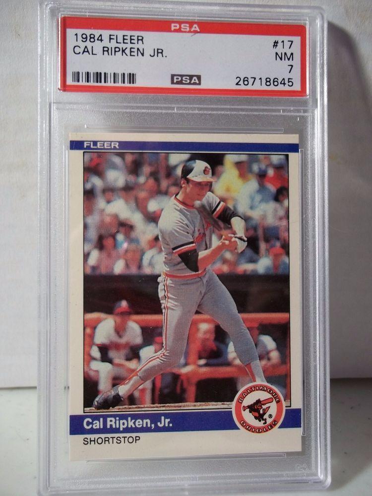 1984 fleer cal ripken jr psa nm 7 baseball card 17 mlb