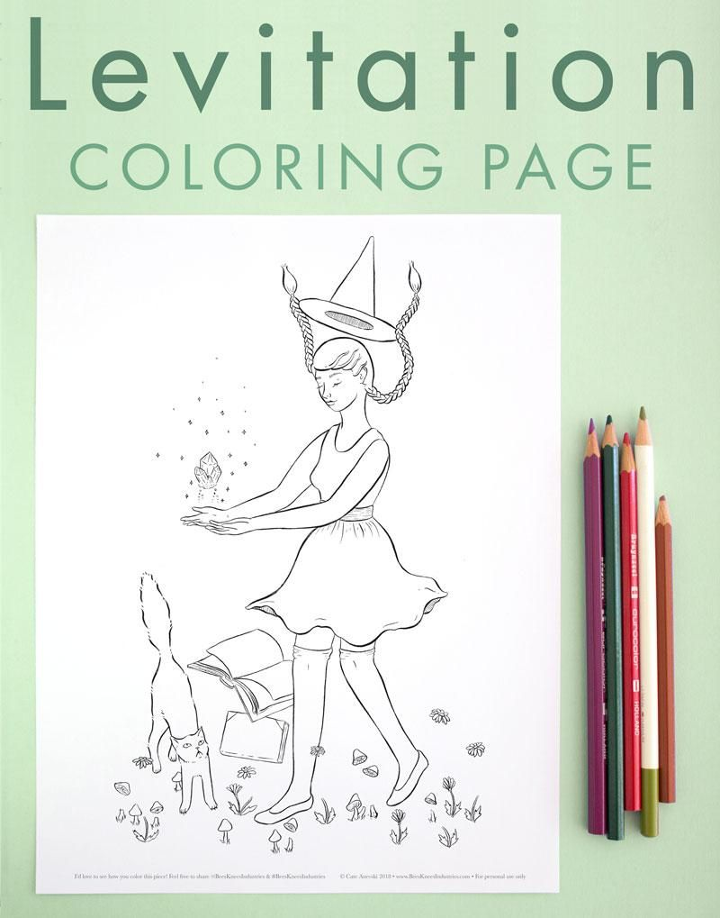 Coloring page levitation witch in kids halloween