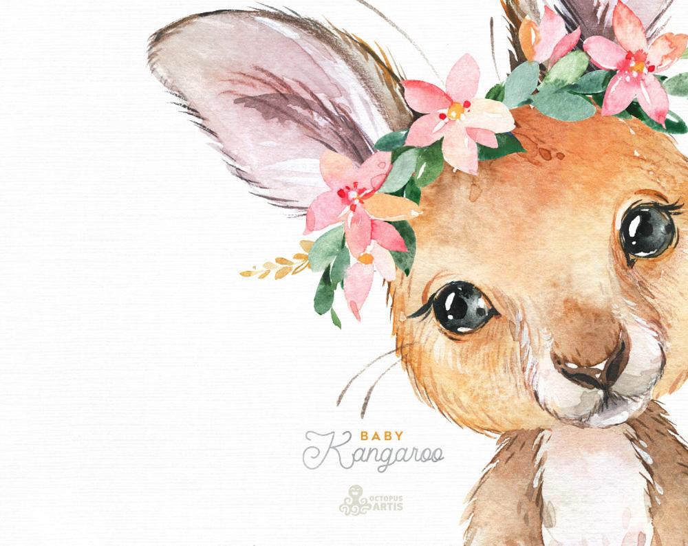 Baby Kangaroo Watercolor Little Animals Clipart Australia Etsy Animal Clipart Koala Drawing Watercolor Images