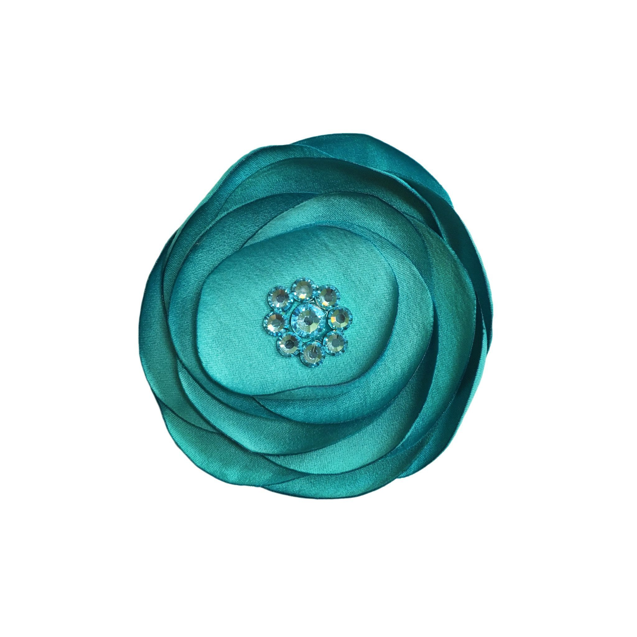 Large Crystal Pansy Hair Clip - Aqua