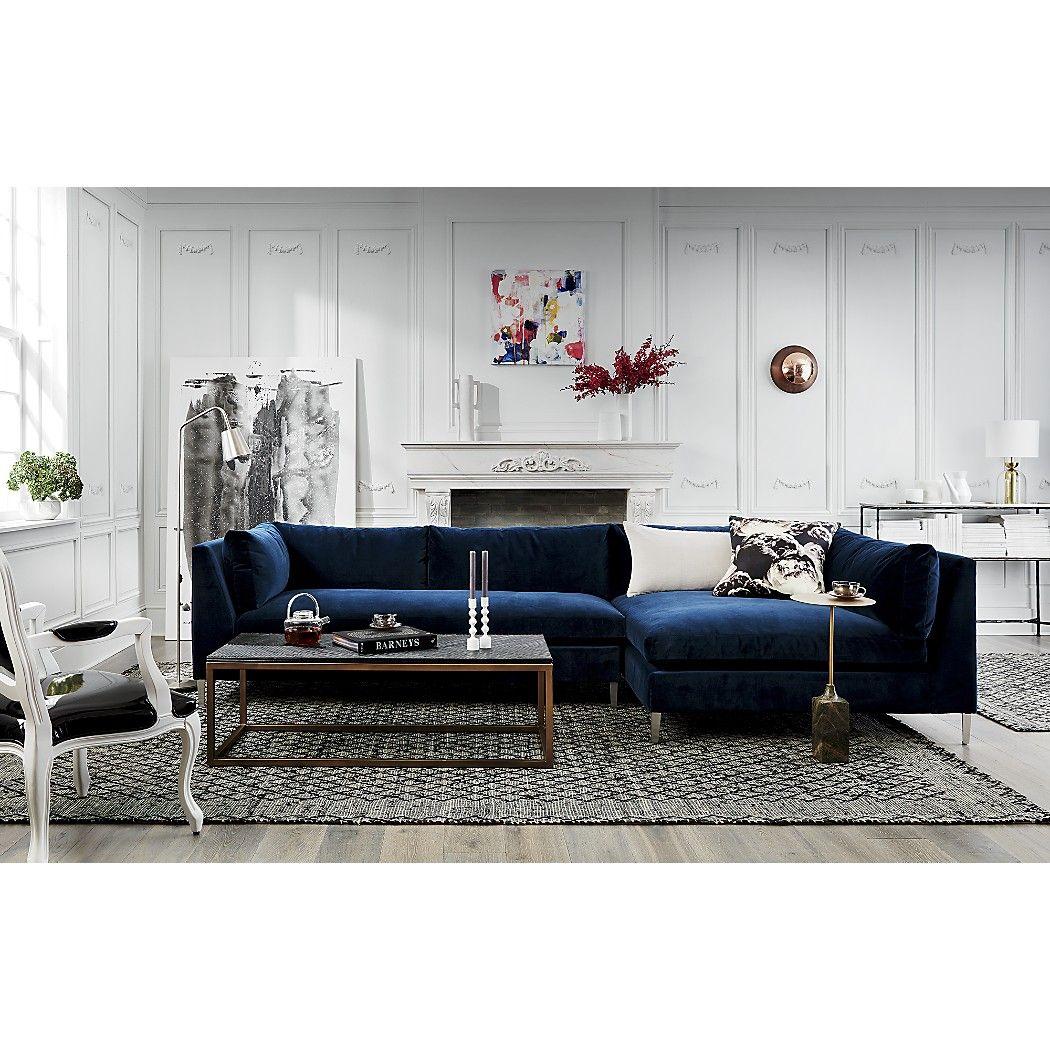 Fabulous Decker 2 Piece Navy Blue Velvet Sectional Sofa Reviews In Short Links Chair Design For Home Short Linksinfo