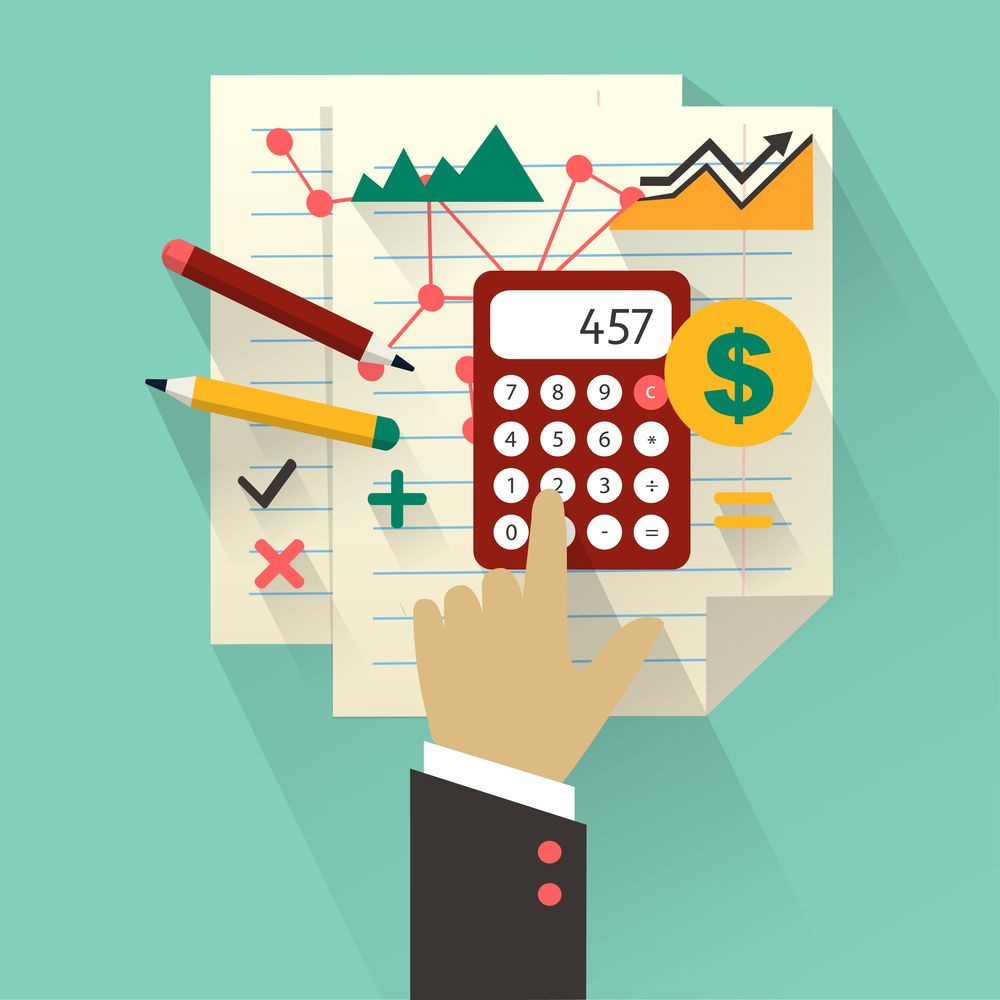 Business icons and elements with hand    Accounting Online