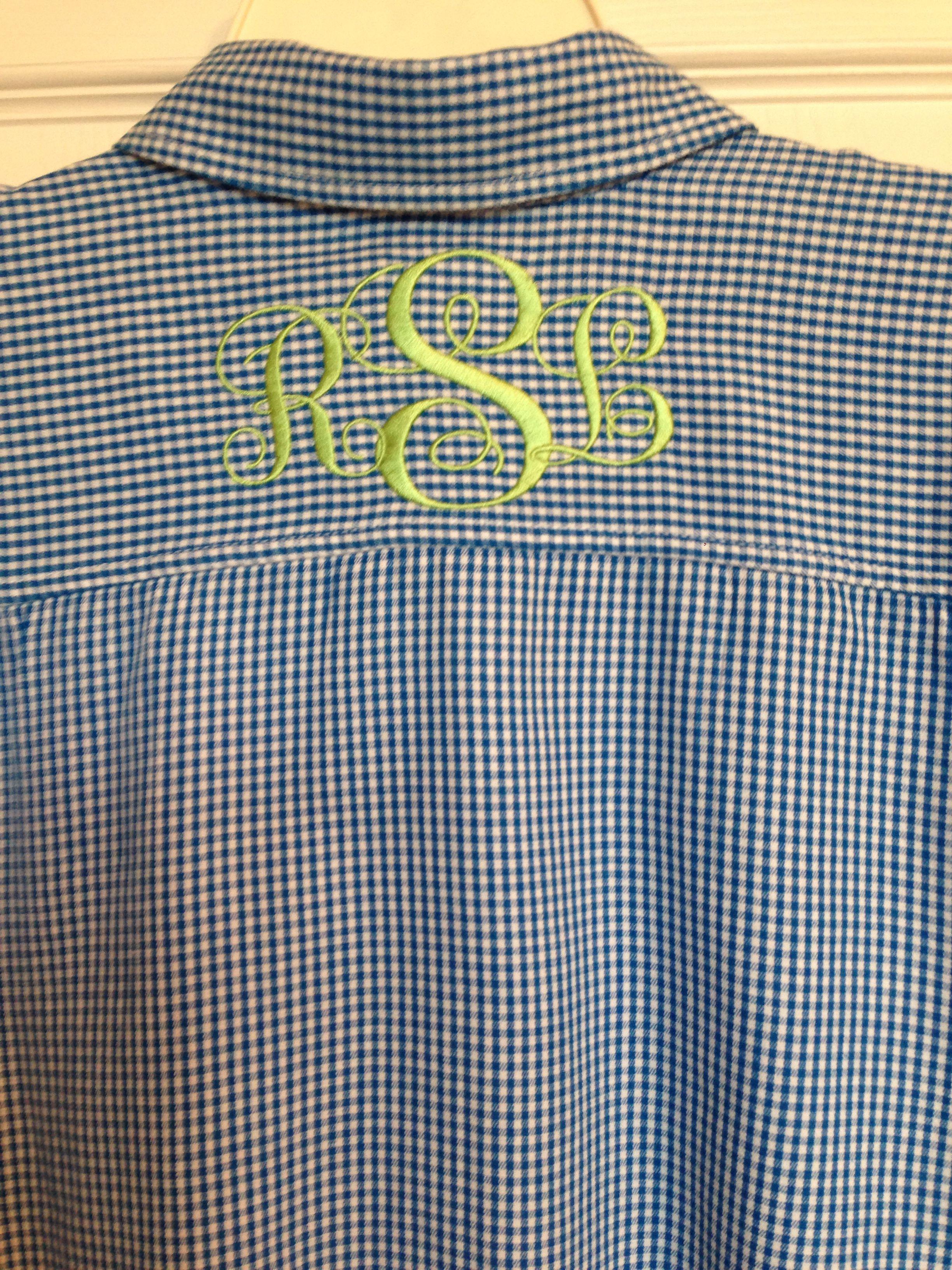 Monogram yoke on back of shirt machine embroidery patterns ღ