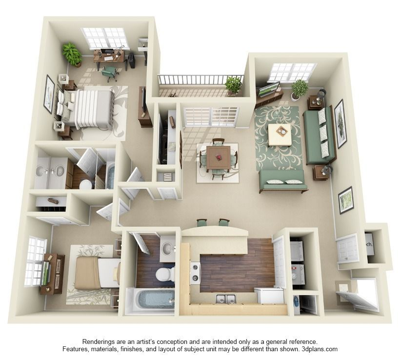 Two Bedroom Apartment Plan