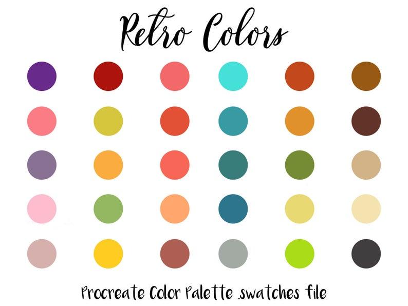 Retro Color Palette For Procreate 1970s Vintage Palette Procreate Swatches Procreate Swatches File Bright Colors Bold Colors Ipad Pro In 2020 Retro Color Palette Vintage Colour Palette Retro Color