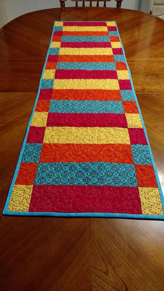 Jewel Tone Quilted Table Runner Quilted Table Runners