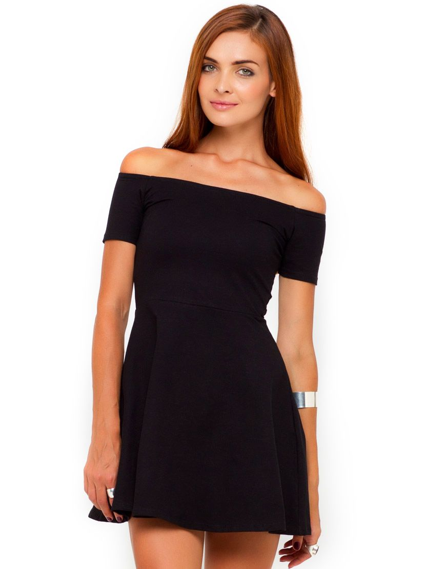 Buy motel coco backless bodycon dress in hot pink at motel rocks - Motel Catalina Off Shoulder Skater Dress In Black Top Shop Asos House Of