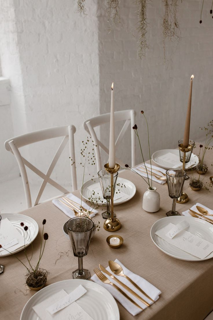 Minimalist Bridal Inspiration Styled By One Stylish Day With Foliage & Dried Flowers #gedecktertisch