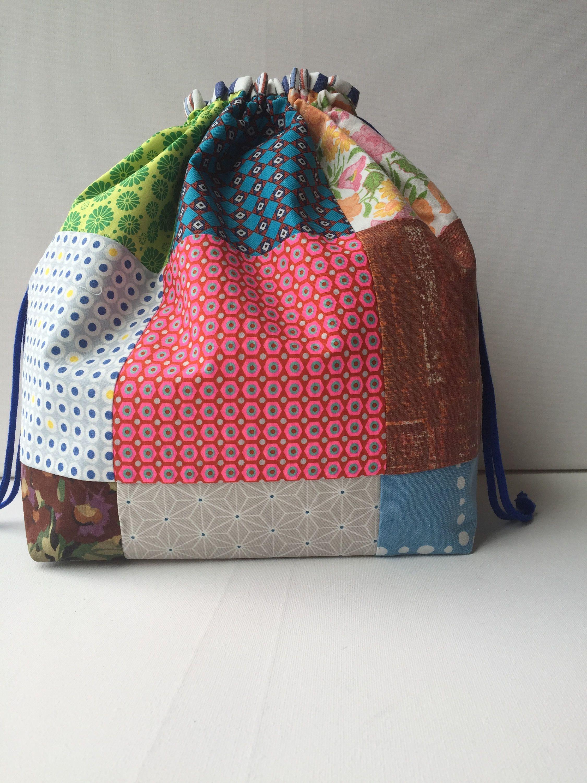 project bag drawstring extra large patchwork by lowlandoriginals on